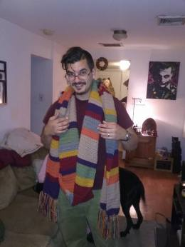 Jimmy wearing the Dr. Who scarf I made him for Christmas 2016