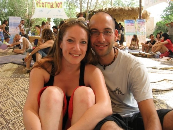 """Inbal and I at """"Zorba the Buddha"""" festival, 2009"""