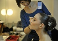 ... and Olympia (Miriam Kacerova) prepares for her performance
