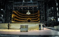 Setting up the traditional stage for Romeo and Juliet
