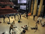 Just before the warm-up training on stage on the day of the double-show.