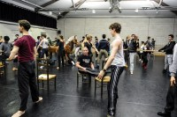 The studio at Sadler's Wells is a teeny bit too small for all our dancers. Here they're taking class with ballet master Thierry Michel before the dress rehearsal.