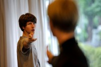 David Moore as Lenski and Marijn Rademaker as Onegin in rehearsal - the duel!
