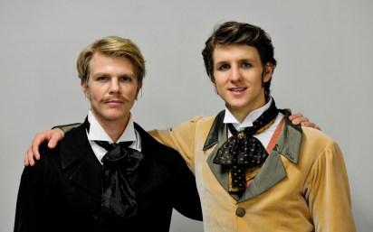 Marijn Rademaker and David Moore backstage before the third act of Onegin