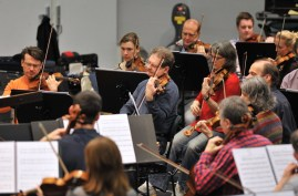 The orchestra of the State Theatre Stuttgart rehearsing under James Tuggle.