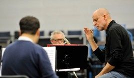 James Tuggle rehearsing The Soldier's Tale with the musicians