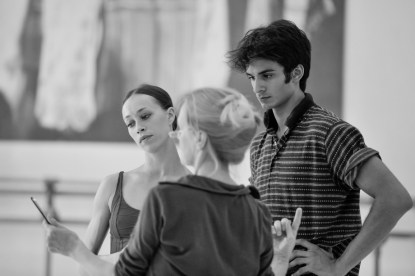 Anna Osadcenko and Constantine Allen rehearsing with ballet mistress Andria Hall