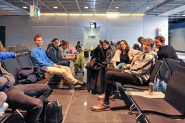 The dancers waiting to board the plane in Frankfurt