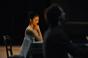 Sue Jin Kang in a stage rehearsal with Alastair Bannerman at the piano.