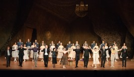 At the request of Sue Jin Kang, the entire artistic staff comes on stage to bow with the dancers. From left to right: Krzysztof Nowogrodzki, Rolando D'Alesio, Roman Novitzky, James Tuggle, Georgette Tsinguirides, Sue Jin Kang, Jason Reilly, Thierry Michel, Hyo-Jung Kang, Tamas Detrich, Constantine Allen, Reid Anderson.
