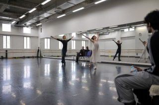 Elisa Badenes and Daniel Camargo rehearse Romeo and Juliet with balletmaster Krzysztof Nowogrodzky in the Tokyo Ballet studios
