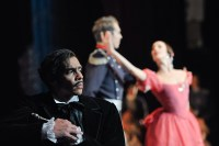 Jason Reilly as Onegin in the third act with Anna Osadcenko and Robert Robinson