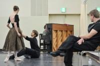 Onegin rehearsal in the studio: Elisa Badenes and Friedemann Vogel with ballet master Krzysztof Nowogrodzki