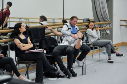 Demis Volpi with the ballet masters Yseult Lendvai and Thierry Michel and set design assistant Marlene Beer