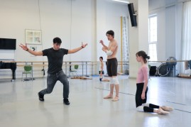 Our Resident Choreographer Demis Volpi at work with Elisa Badenes and David Moore