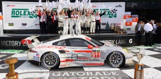 Porsche Motorsport 2015 Daytona 24 preview: 2014's GT Le Mans (GTLM) class victory for the No. 911 Porsche North America Porsche 911 RSR at the Rolex 24 at Daytona. Credit: Bob Chapman/PMNA