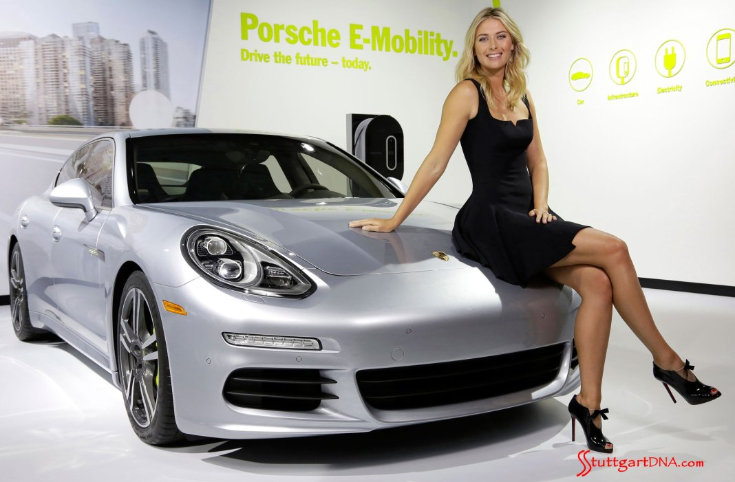 Porsche suspends Maria Sharapova Ambassadorship; Porsche, Maria Sharapova and CFDA team up: A smiling, leggy Maria Sharapova seen looking gorgeous in a short black dress, sitting on the hood of a Panamera S E-Hybrid. Credit: Porsche AG
