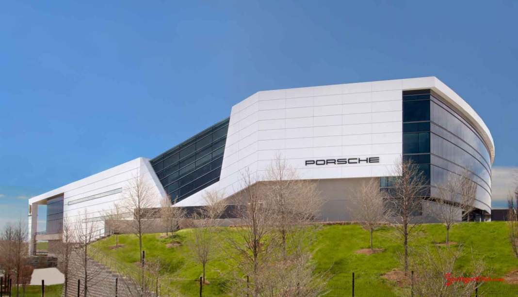 Porsche USA ABS bond largest ever: Seen here is an impressive exterior angle of Porsche Cars North America's new HQ OPD in Atlanta, GA. Credit: PCNA