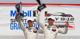 Porsche 2015 Canadian victory two in a row: Patrick Pilet and Nick Tandy are seen here celebrating their Canadian victory at top of the Canada 2015 podium at Canadian Tire Motorsport Park. Credit: Porsche AG