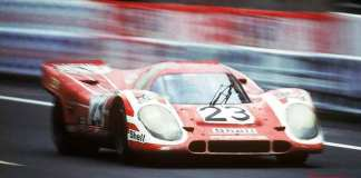 Seen here is the red-and-white Le Mans No. 23 Porsche 917, on track. Credit: Porsche AG