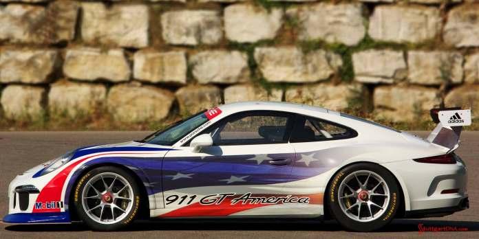 Porsche 911 GT America - United SportsCar: Porsche 911 GT America - United SportsCar: The GT3 America, pictured here from the left-side view. Credit: Porsche Motorsport North America