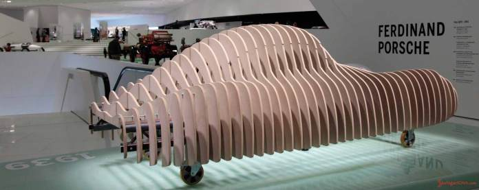 Porsche No 1: While Type 64 was exhibited in Atlanta, the Porsche Museum displayed this wooden skeleton structure through 2010. Credit: Porsche AG