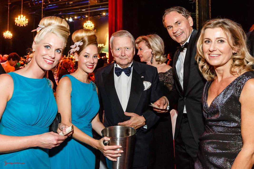Porsche Leipzig Opera Ball partnership extended: Dr. Wolfgang Porsche is seen here with fellow attendees - including a beautiful blue-eyed blonde Fräulein to the Doctor's right - at the 2015 Leipzig Opera Ball. Credit: Porsche AG
