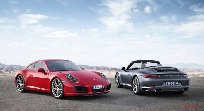 The new 2017 Porsche 911 Carrera 991.2: Seen here are the new red and silver 2017 911s. Credit: Porsche AG