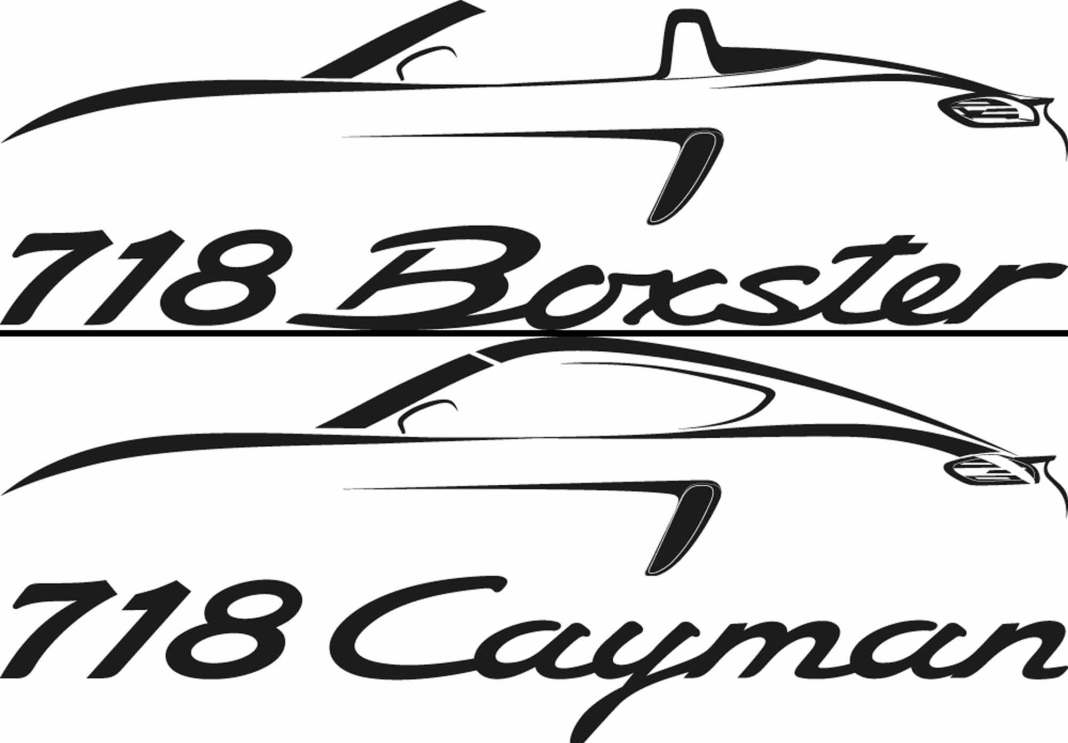 718 Boxster and 718 Cayman: 718 logo and silhouette composite. Credit: Porsche AG