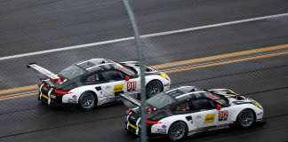 2016 911 & 912 at 2016 Daytona Roar, side-by-side on track. Credit: Porsche AG
