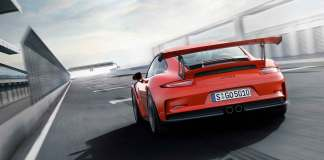Porsche 2015 USA record year : GT3 RS debut, left-rear, on straightaway. Credit: Porsche AG