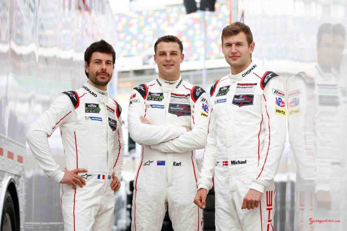 Porsche North America 2016 Post-Roar Report: Frederic Makowiecki, Earl Bamber and Michael Christensen (l-r). Credit: Porsche AG