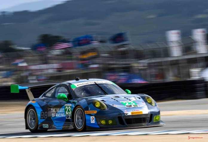 New 2016 Porsche 911 GT3 R wins first race: No. 23 GT3 R right-front on track at 2016 Laguna Seca. Credit: Porsche AG