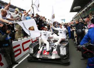 Porsche garners 18th overall win at 84th Le Mans 2016: No. 2 919 to 2016 Le Mans Victory Lane with Dumas and Lieb. Credit: Porsche AG