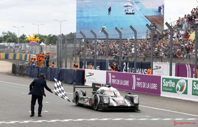 Porsche garners 18th overall win at 84th Le Mans 2016: No. 2 919 in P1 crossing finish line. Credit: Porsche AG