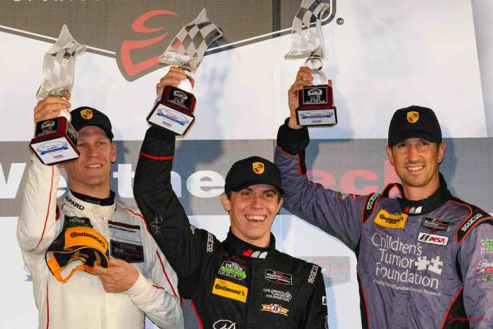 Bergmeister, McMurry & Lindsey on podium - 2016 Petit Le Mans Road Atlanta. Credit: PAG.