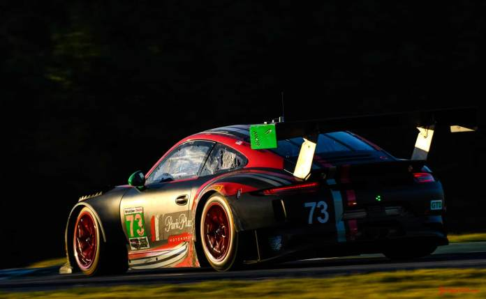 Porsche Works 911 RSR last race: Porsche No. 73 left-rear on track - 2016 Petit Le Mans Road Atlanta. Credit: PAG