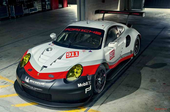 2017 Porsche GT-class 911 RSR: 2017 911 RSR pictured from high-left-front in garage. Credit: PAG