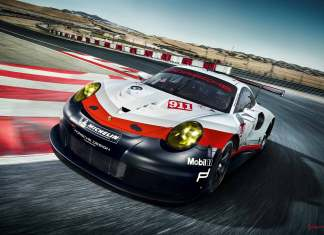 2017 Porsche GT-class 911 RSR: Left-front of racecar running on the track.