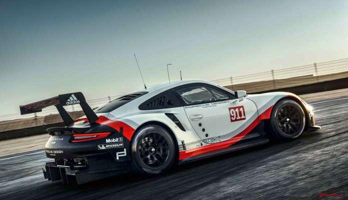 2017 Porsche GT-class 911 RSR: Rolex 24 Daytona debut: 2017 911 RSR right-rear on track. Credit: Porsche AG