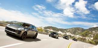 Porsche December 2016 USA sales: Four Macans are being tested on a mountain road. Credit: PAG
