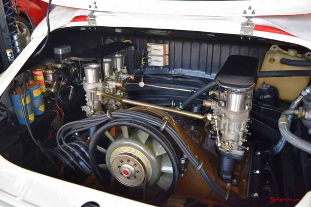 2017 Porsche L.A. Literature, Toy and Memorabilia Meet Weekend: Callas Porsche 911R No 001 engine, from right angle, at Callas Rennsport 2017 Lit Weekend Open House. Credit: StuttgartDNA