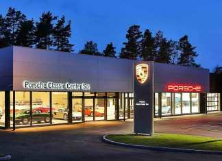 Porsche AG opens Son Norway Porsche Classic Center: Seen here is the Norway Classic Center night facade. Credit: Porsche AG