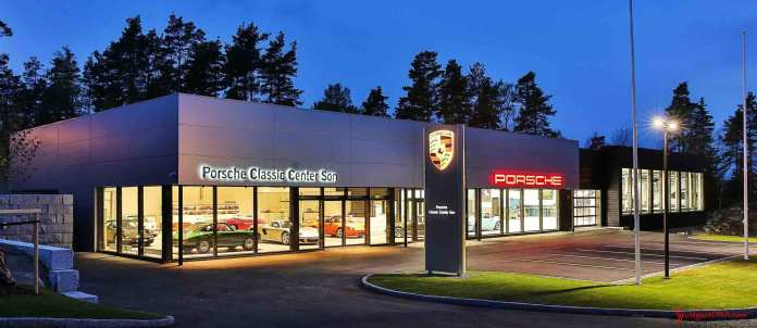 Porsche Classic Centers opening worldwide - Porsche AG opens Son Norway Porsche Classic Center - Seen here is the Norway Classic Center night facade. Credit: Porsche AG