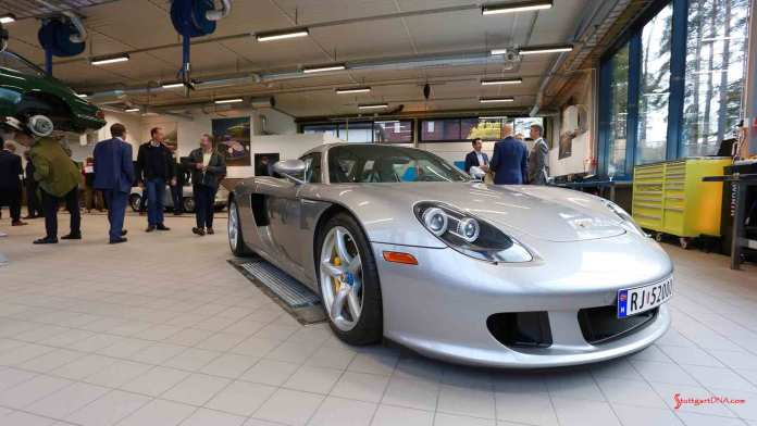 Porsche Classic Centers opening worldwide - A silver Carrera GT is pictured here at the opening of the Porsche Classic Center Son, in Norway. Credit: Porsche AG