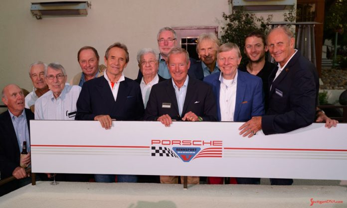 Porsche announces 2018 Rennsport Reunion VI: Rennsport Reunion V: Legends of Le Mans in the flesh posing in pre-Rennsport activities. From left to right are Richard Attwood, Gerard Larousse, Vic Elford, Jochen Mass, Jacky Ickx, Hans Herrmann, Jürgen Barth, Hurley Haywood, Derick Bell, Gijs van Lennep, current Factory driver Nick Tandy, and Hans-Joachim Stuck. Credit: PAG