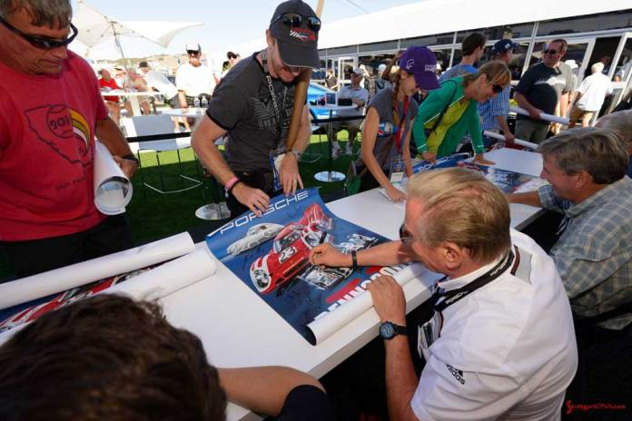 Porsche announces 2018 Rennsport Reunion VI: Rennsport Reunion V: Pictured here is one of the many driver autograph sessions. Credit: Porsche AG