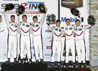 Porsche wins 2018 Sebring 12 Hours GTLM Class: Seen celebrating their 1st and 3rd place wins, respectively, are Frédéric Makowiecki, Nick Tandy, Patrick Pilet, Laurens Vanthoor, Earl Bamber and Gianmaria Bruni (l-r). Credit: Porsche AG