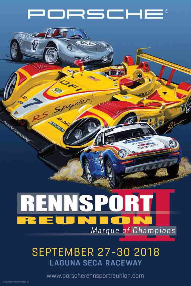 Porsche unveils official Rennsport Reunion VI poster: The poster is seen here, depicting three significant players in Porsche motorsport history: (1) the 1960 12 Hours of Sebring winner, the Type 718 RS 60, Porsche's first overall endurance race winner; (2) the 2008 RS Spyder which amazingly won races overall ahead of presumably dominant LMP1 cars in the American Le Mans Series in its LMP2 Prototype class; and (3) the groundbreaking 959 Group B rally car, which not only won the punishing 6,200 mile 1986 Paris-Dakar off-road rally, but also subsequently transformed into the world's fastest production street-legal road car.
