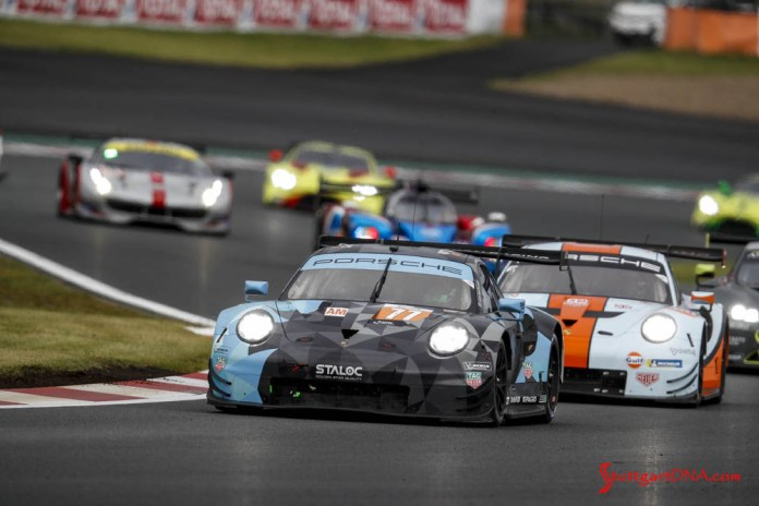 Porsche wins 2018 WEC Fuji 6 Hours: Dempsey Proton Racing's No. 77 Porsche 911 RSR is pictured here out in front of the pack on the Fuji track. Credit: Porsche AG